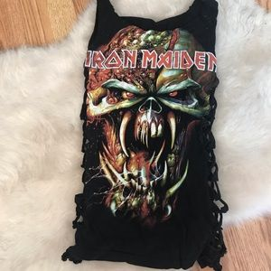 UPCYCLED IRON MAIDEN TANK TOP SMALL